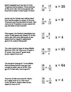 Ratio and Proportion Word Problems Worksheets