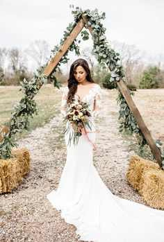 Gorgeous Allure Bridals separates are featured in this rustic styled elopement