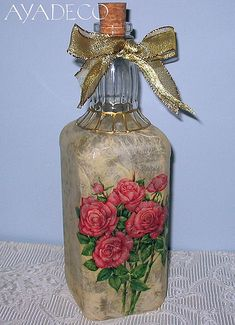 Decoupage bottle - ROSES by Ayadeco.pl, via Flickr