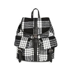 Under One Sky Women's Backpack Handbag with Plaid Design ($35) ❤ liked on Polyvore featuring bags, backpacks, black, drawstring bag, draw string bag, cell phone bag, rucksack bag and under one sky