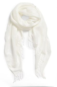 $29, Linen Blend Scarf White One Size One Size by Halogen. Sold by Nordstrom. Click for more info: http://lookastic.com/women/shop_items/100016/redirect