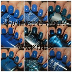 Blue polishes for Huntington's Disease Awareness Month