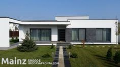 Casas modulares Flat Roof House Designs, Modern Small House Design, Minimalist Architecture, Modern Architecture House, Living Room And Kitchen Design, One Storey House, Pool Landscape Design, Modern House Facades, Model House Plan