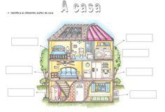 A Casa Conhecer as divisões da casa. Esta fichas destina-se a alunos do 1º ano. Vocabulário: CASA-DE-BANHO; SALA; QUARTO DA CALDEIRA; COZINHA; LAVANDARIA; HALL DE ENTRADA; QUARTO Cartazes para a In...