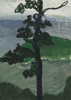 What kind of lines does Peter Doig use to paint this tree? Can you trace that line with your fingers? Does this tree look young or old? does it look serious or playful?