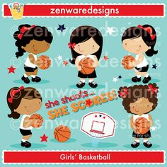 These cute basketball girls clipart characters are so sweet! Set includes five basketball girls, basketball, basketball goal clipart, and stars clipart. Precious basketball graphics for the perfect cards, tote bags and monogramming! This set is wonderful for party invitations and notepads. The simple lines are great for embroidery as well!  Formats: 300dpi JPEG files, and 300dpi transparent PNG files  License Information: Commercial Credit Required: You must give credit to designer wherever…