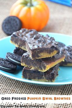 {Dairy Free} Oreo Frosted Pumpkin Swirl Brownies