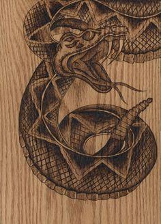 Rattle Snake woodburning by Trevor Moody of Dirigo Craft & Supply Co.
