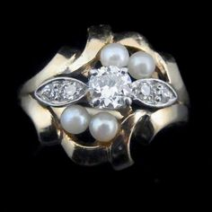 Victorian Old European Cut Diamond Pearls 14k by sohojewelers