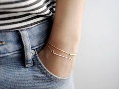 14k Gold Bracelets - Dainty Gold Bar & Gold Tube Bracelets - Set of Two - Gift…