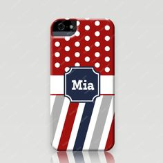 Monogrammed iPhone 5 and 5s Case - Polka Dots in Red & Stripes - Froolu