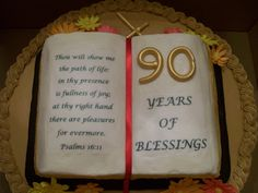 90th Birthday - This was a cake for our Pastor Emeritus' 90th birthday.  This is his favorite Bible verse.  They were decorating with daisies, so I tried to bring that in also.  He only requested basketweave, he didn't mind whatever else I put on the cake.  I hope it will be a good surprise for him!  WASC with Princess flavor Buttercream Dream, gumpaste flowers, fondant binding, and edible image.  Thanks for looking!