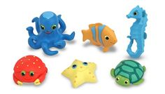 Melissa & Doug Sunny Patch Seaside Sidekicks Creature Set - Play set of five colorful plastic animals Includes five aquatic friends: crab, octopus, seahorse, starfish and turtle. Bright colors are easy to spot in sand or water.