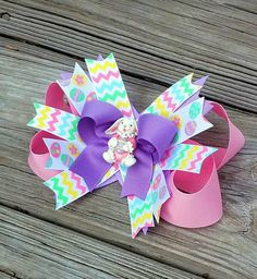 Pastel Easter Bunny and Egg Chevron Hair Bow by MiaBellaCrafting