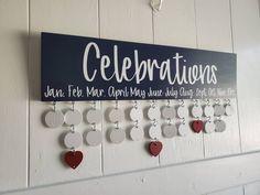 Wood Calendar Perpetual Calendar wall calendar Celebrations Board Ready to ship gift Family Celebration Sign Birthday Calendar