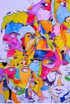 Blind Contour Drawing with watercolor - Google Search