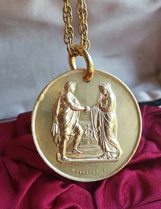18K Gold Plated Silver French Art Nouveau Marriage Medal Bride Groom Wedding Vows Bridal Gift Gold Vermeil Catholic Jewelry Gift Religious by SacredBarcelona on Etsy