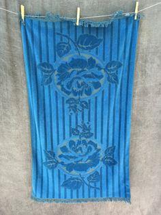 60's Fieldcrest Mid Century Blue Rose Towel by ElkHugsVintage on Etsy