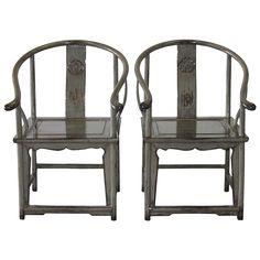 Gray Horseshoe Chairs - A Pair on Chairish.com