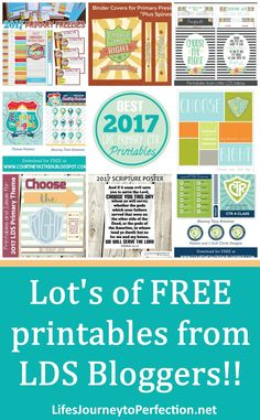 2017 LDS Primary Theme Printables Choose the Right Binder Covers, Posters and more!!