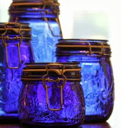 Why We Move Things Around/cobalt blue jars