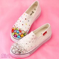 Womens College Canvas Rhinestone Sport Shoes Slip On Sneakers Casual Trainers ##