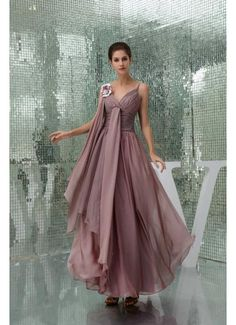 2013 New Style A Line Chiffon Flower Trimmed Coffee Prom Dress £114