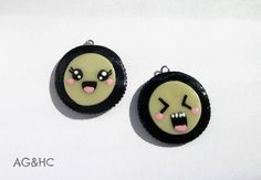 Funny Face Oreo Clay Charms  Handmade Polymer by AGirlandHerClay, $6.25