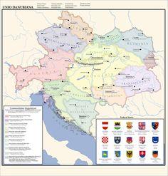 The Danubian Union: Federal States by on DeviantArt German Symbols, Austria Map, Hallstatt, Old World Maps, Budapest, Austro Hungarian, Extinct Animals, Alternate History, Fantasy Map