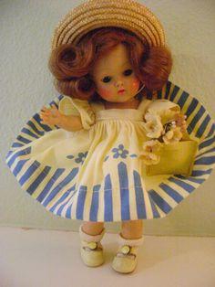 SILKSCREEN DRESS STRUNG VOGUE GINNY 1952 TOSCA WIG MINT ***RARE***TAGGED! #Vogue #Dolls