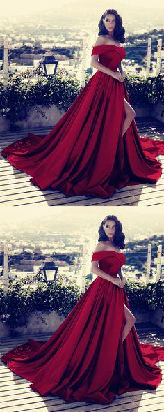 Dark Red Prom Dresses,Burgundy Evening dress,Off Shoulder Prom Dress,Wine Red Formal Dresses