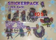 Selling my first #warcraft #sticker pack with 7 stickers. $10 includes free shipping. serecrafts.com Lich King, Warcraft Art, My Design, Stickers, Free Shipping, Sticker, Decal, Decals