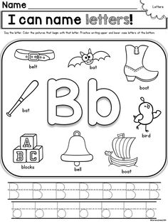 Alphabet printables in this Back to School Printable Pack for Kindergarten! This pack has everything covered for the first few weeks of school-- cutting, gluing, name writing, letters and numbers, counting-- will save so much time! Preschool Letters, Learning Letters, Preschool Worksheets, Writing Letters, Alphabet Worksheets, Alphabet Phonics, Tracing Worksheets, Preschool Themes, Homeschool Kindergarten