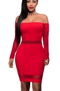 Bodycon Party Modeshe Hombro Red Off Largas Malla 3 Mb22931 Vestido Mangas Inserte FwC0B6