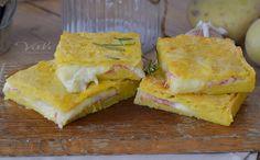 Schiacciata di patate con prosciutto e mozzarella