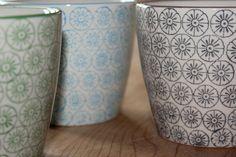 Set Of Three Hand Printed Porcelain Mugs 23 40th Birthday Presents, Porcelain Mugs, Tea Cups, Lights, Printed, Slovenia, Danish, Denmark, Charcoal