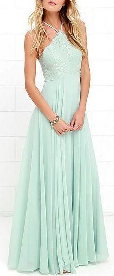 2017 Custom Charming Mint Green Prom Dress,Sexy Halter Evening Dress,Long Chiffon Prom Dress