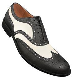 Aris Allen Mens 1950s Black and White Wingtip Dance Shoe $84.95 AT vintagedancer.com