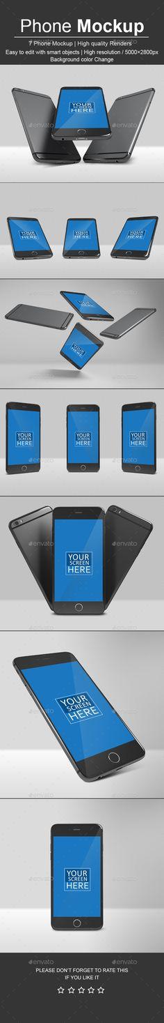Phone Mockup Template - #Mobile #Phone #Mockup #Template #Display #Design. Download here: https://graphicriver.net/item/phone-mockup/19414018?ref=yinkira