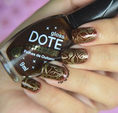 Enamelled Alice: Swatches: UC 2-02 UberChic Beauty - Stamp Card. Brown and gold scream fall and these leaves are perfect for that! You can get great looking nails every time with UberChic Beauty stamping plates! #UberChicBeauty #UberChic #nails #nailaddict #nailart #nailstamps #fallnails #leaves
