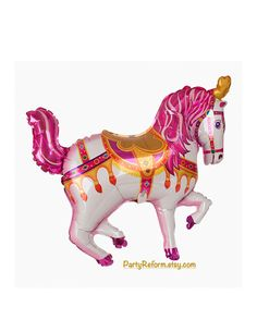 Carousel Horse Balloon Large 35 Foil Mylar Pink by PartyReform