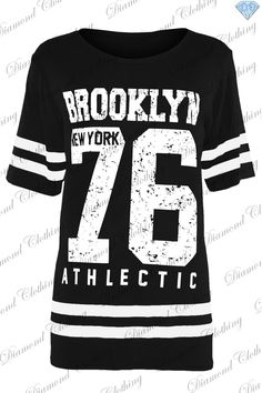 c90be8a8518e2 Womens Baggy T Shirt Ladies USA American Varsity Oversized Top Plus Size  8-24