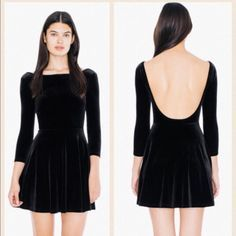 American Apparel Velvet Skater Dress American Apparel Velvet Skater Dress in black with higher front and low scoop back, top fitted and skirt is flowy. Super comfy and cute! American Apparel Dresses