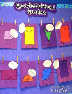 Creative ideas for teaching and shapes with shape activities for and grade. Get students writing about math and using quotation marks to describe attributes of shapes. Ideal to add to your quadrilateral activities for second and third grade math. 3d Shapes Activities, Geometry Activities, Teaching Shapes, Math Activities, Teaching Measurement, Preschool Math, Teaching Art, Teaching Ideas, Math Art