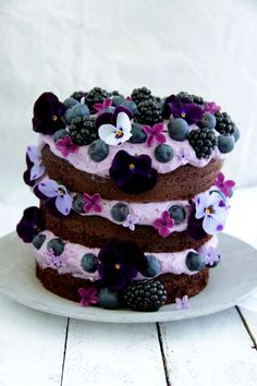 Chocolate cake with blueberries and blackberries. Blueberry Chocolate, Chocolate Recipes, Chocolate Cake, Sweet Recipes, Cake Recipes, Dessert Recipes, Beautiful Cakes, Amazing Cakes, Delicious Desserts