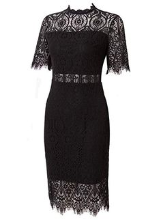 a5fd66a0e38 Zalalus Women s Lace Dresses for Cocktail Wedding Party Elegant High Neck  Short Sleeves Above Knee Length Summer Bodycon Casual Midi Dress Black US 10