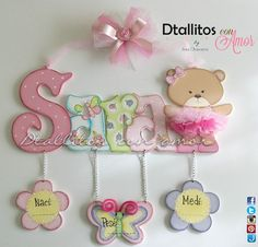 (14) Dtallitos con amor Foam Crafts, Diy And Crafts, Baby Wall Decor, Baby Door, Baby Shawer, Nursery Letters, Baby Album, Craft Bags, Country Art