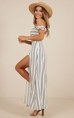 Thinking Bout You Maxi Dress In White Stripe Maxi Playsuit, Cute Maxi Dress, Wide Brimmed Hats, Strapless Maxi, Long Torso, Lace Up Flats, Vineyard, White Dress, How To Wear