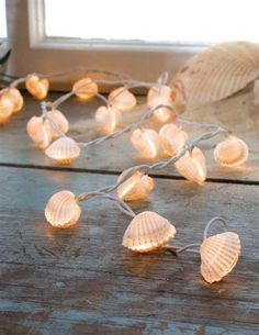 """SEASHELL LIGHTS; #90 LT 9018678. $19.95 ($28 Value). Inspired by the treasures tossed to the sand, a string of illuminated shells will cast a soothing light in the summer home. 75"""". Plastic."""