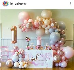 Beautiful Pink theme 1st Birthday Party Dessert Table and Decor